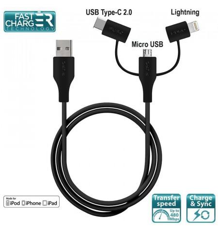 PURO Cable 3 in 1 - Kabel USB do ładowania & synchronizacji danych z trzema wtykami Micro USB & USB-C & Lightning MFi, 2 A, 480