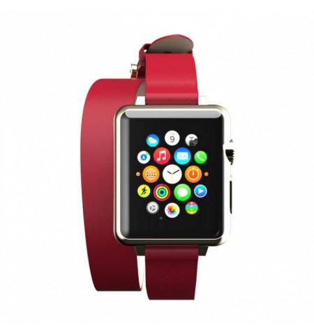 Incipio Reese Double Wrap - Skórzany pasek do Apple Watch 42/44mm (czerwony)