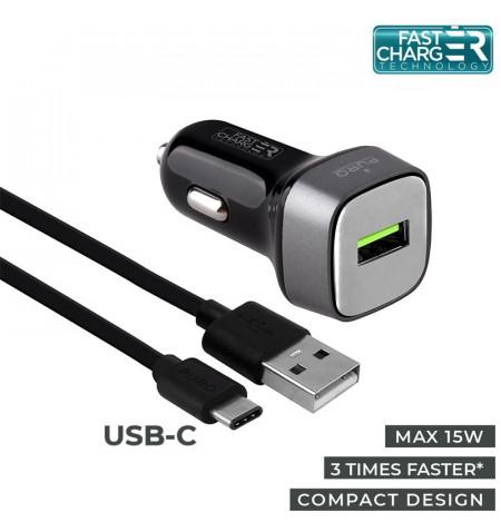 PURO Car Fast Charger - Uniwersalna ładowarka samochodowa USB 3.0 A + kabel USB-C 1 m, 15 W (czarny)