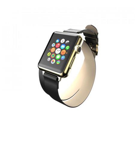 Incipio Reese Double Wrap - Skórzany pasek do Apple Watch 38mm (czarny)