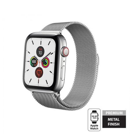 Crong Milano Steel - Pasek ze stali nierdzewnej Apple Watch 38/40 mm (srebrny)