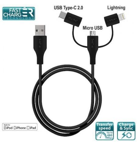 PURO 3 w 1 Kabel USB z trzema wtyczkami Micro USB & USB-C & Lightning MFi, 2 A, 480 Mbps, 1 m (czarny)