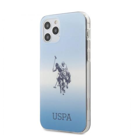 US Polo Assn Dh & Logo Gradient - Etui iPhone 12 / iPhone 12 Pro (niebieski)