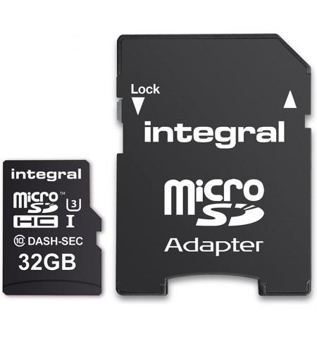Integral Dash & Security microSDHC - Karta pamięci 32GB C10 UHS-I U3 z adapterem