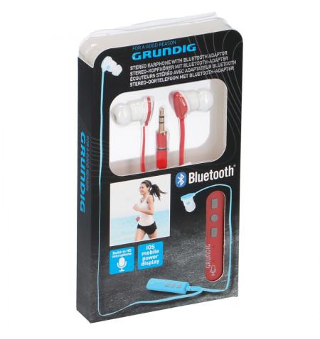 Grundig - Słuchawki douszne z adapterem Bluetooth (czerwony)