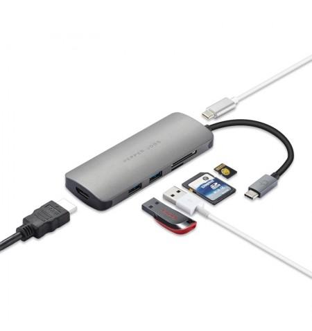 Pepper Jobs TCH4 - Przejściówka z USB-C na 2xUSB/ HDMI/ SD/ MicroSD